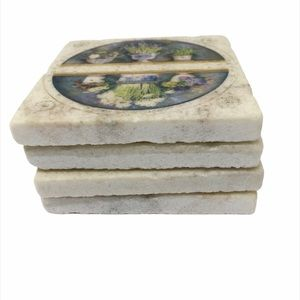Stone Floral Coasters, Set of 4